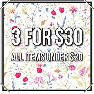Bundle 3 items for $30 like this post